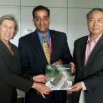 The IUCN Annual Report 2013 being presented to IUCN Director General Julia Marton-Lefèvre and IUCN President Mr. ZHANG Xinsheng by Mr. Malik Amin Aslam IUCN global Vice President and Regional Councillor, West Asia at the IUCN Headquarters in Gland, Switzerland